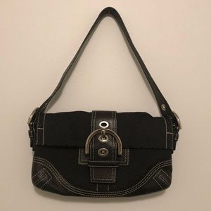 Coach Black Signature & Leather Purse Bag